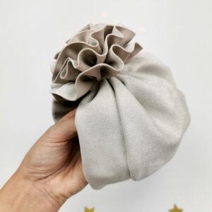 baby-turban-mädchen-handmade-blume-sendoro-shop-lollipop-grau-velour-geschenk-eistüte