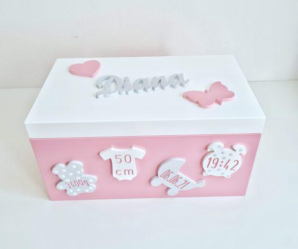 erinnerungstruhe-holz-mit-geburtsdaten-sendoro-shop-traumhaft-baby-zimmer-baby-geschenk-personalisiert maxi truhe rosa weiß